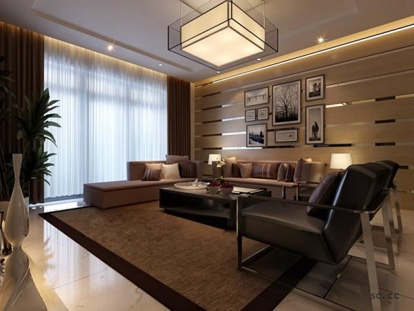 设计理念:营造干练,干净的效果。重点在沙发背景墙的处理上面,运用了石材跟镜面的拼接,凸出干练,干净的感觉。