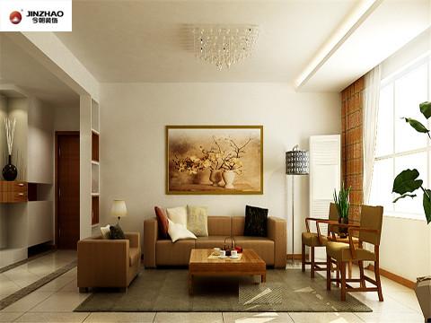 沙发背景墙的挂画与家具遥相呼应,使客厅有种自然而然的融合力。