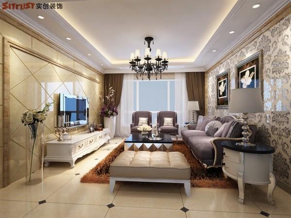 紫御府-112平米E户型装修设计-客厅效果图
