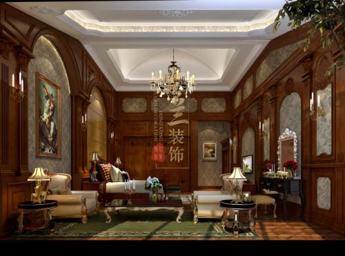 欧式案例成都装修设计别墅别墅客厅造型带衣柜的玻璃门图片