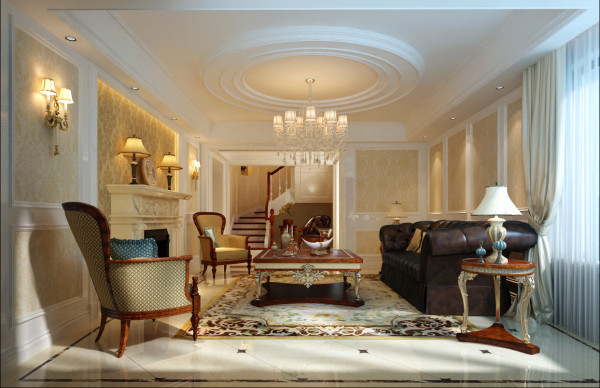 绿地玉兰花臻园别墅新欧式风格装修设计方案展示,欧式风格强调以华丽的装饰、浓烈的色彩、精美的造型达到 华贵的装饰效果。 欧式客厅顶部用大型灯池, 并用华丽的枝形吊 灯营造气氛。