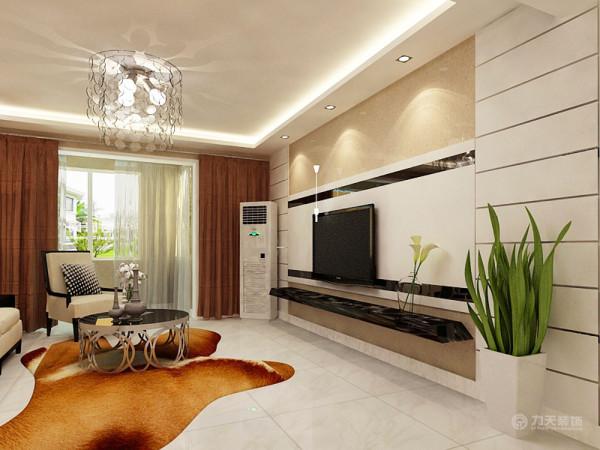 电视背景墙是由石膏板拉缝与壁纸组成,两边对称的石膏板,加着中间有黑镜的石膏板,更加富有现代气息。