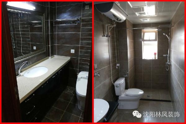 两个卫生间整体以地砖上墙,局部切割,让卫生间间分隔明细,给人一种简单整洁高雅的感觉。