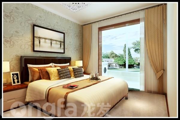 卧室床头背景及床的展示