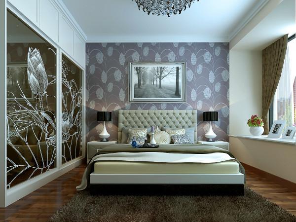 卧室空间内一个简单的大床带着咖色的地毯,仿佛可以看到主人赤着脚丫在上面行走时那份恬静。