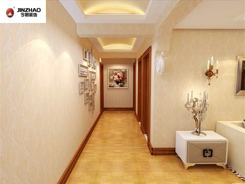 米黄色花纹墙纸,搭配上浅红色的踢脚线及浅色木门将温馨体现的淋漓尽致。