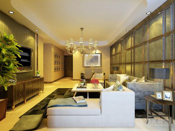 沙发背景墙采用了木质线条与仿绒布的灰绿色壁纸搭配造型,制作成了规律的矩形形状,一直延伸到餐厅,更显稳重。