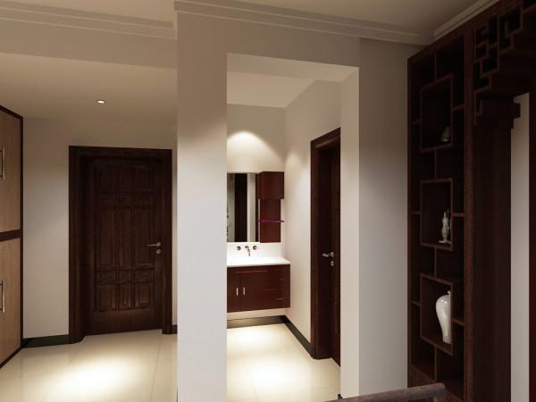 在此图中,主要体现的是客卫的干湿分区的干区,干区没有过多的修饰,简单的中式胡桃木浴室柜足以。 使得客人及家人洗漱很方便。