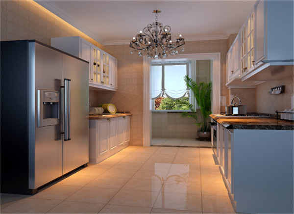 设计理念:西式厨房比较干净卫生,一般要做到整体感 大气干净。 亮点:造型优美的橱柜加上干净亮丽的色彩,使人心情愉悦,黑色的理石台面配上暖色调的瓷砖使得高贵中蕴含着温馨。