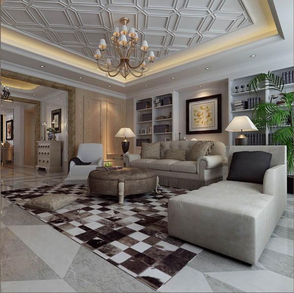 客厅整体延续了法式的简约风格,在吊顶上做了拼格设计,在保证现代家居理念上,延续了古典宫廷气质