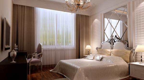 紫晶悦城-126平米D2户型欧式装修设计-卧室效果图
