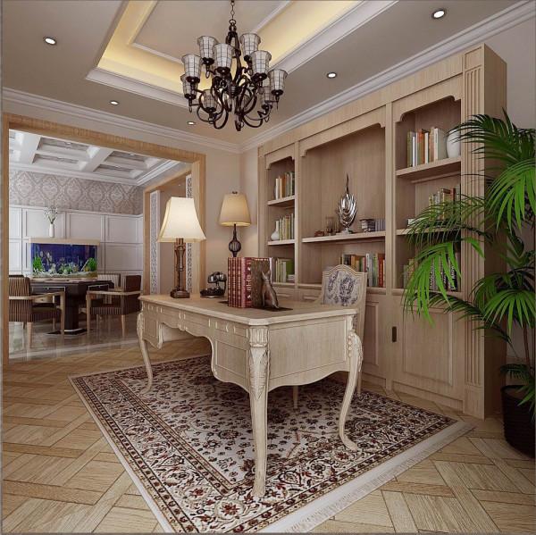书房作为休闲区的延伸,也是半开放的设计,与休闲区的动态空间形成动静结合的内外空间