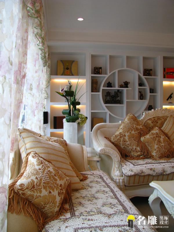 名雕装饰设计—天健现代城—简欧—客厅墙柜