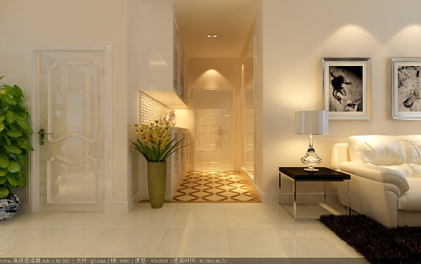 门厅采用镂空门厅柜造型及地面大理石拼花,增强了门厅的设计感