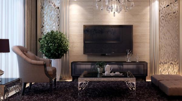紫晶悦城-126平米D2户型欧式装修设计-客厅效果图