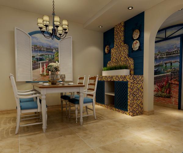 """本案餐厅设计是整个空间的设计亮点之处。在餐厅区域,设计师设计了""""仿壁炉""""的造型设计,并运用了手绘田间风采的手法,造出""""开窗户,窗外靓丽风景即在眼前""""小品形象作为餐厅背景墙。"""