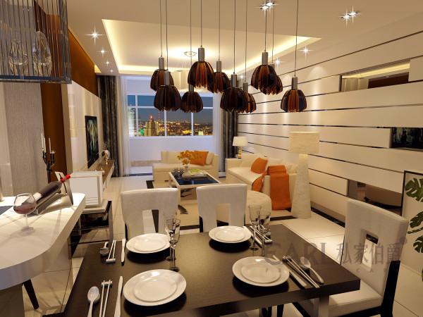 客餐厅设计采用整体白色调为主,以大理石、亚克力板条线、枣泥色乳胶漆做主要装饰,软装装饰及灰色壁纸作点缀,笔直简约的线条同样能勾勒出豪华时尚的气息。