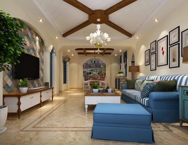 客厅电视背景墙,设计师采用了色彩丰富的菱形色块斜拼装饰,俏皮的色彩使得整个空间具有了跳跃的灵动性。