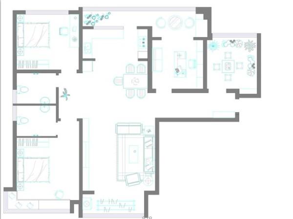 户型优点:典型经典三室户型,客餐厅通透宽敞,卧室分布合理,整个户型的采光效果非常好。 户型缺点:入户花园、阴面阳台浪费比较大,走廊过长。