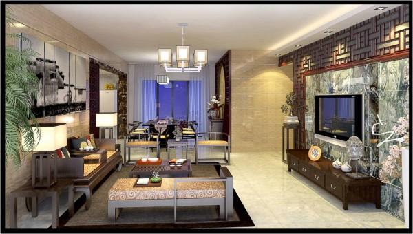 客厅的设计在现代生活中透露着些许中式气息,明亮的灯光与深色中式家具相互映衬,墙壁和地面都是以现代元素的微晶石和抛光砖来处理,主体电视背景又是中式的实木和整块的山水画大理石结合,相互衬托下更显大气稳重。