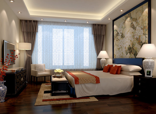 卧室业主对沙发背景的设计非常喜欢,因此主卧床头背景选用与客厅沙发背景造型相呼应,让整体风格和谐。