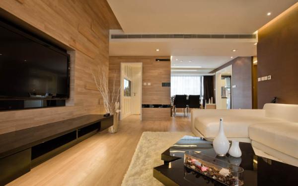 客厅整个采用暖色调, 让人感到放松,舒适。客厅采用木板上墙的,大面积的墙面木板上墙和地面的木地板形成呼应。白色的沙发和灰色的墙面,和黑色的茶几以及电视,跟整个客餐厅相撞有和谐的局面。