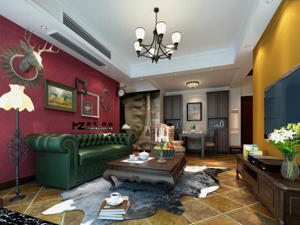 客厅背景墙浓郁的硅藻泥突显墙面质感,沙发墙面配上高贵大气的玫红色.图片