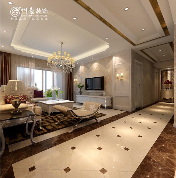 淮矿东方蓝海装修设计130㎡-客厅效果图。地面地砖拼花。