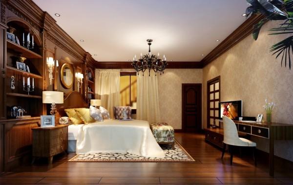 金荣盛景濠庭美式风格复式别墅装修设计-卧室效果图