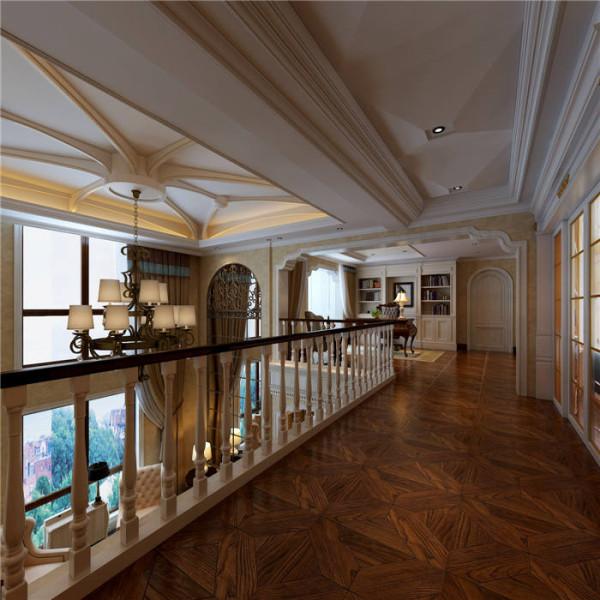 普罗旺世罗曼维森别墅美式风格-二楼走廊效果图