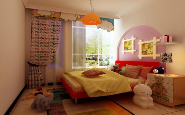 儿童房运用了石膏线圈线在床头北京做了一个造型,然后用壁纸和有颜色的漆进行映衬,让整个的儿童房很有公主的乐园,完全是孩子的世界