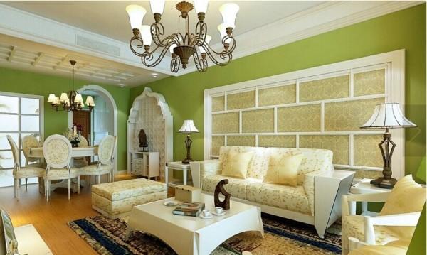 客厅空间的设计融入了亮丽的地中海风格和清新的田园风格