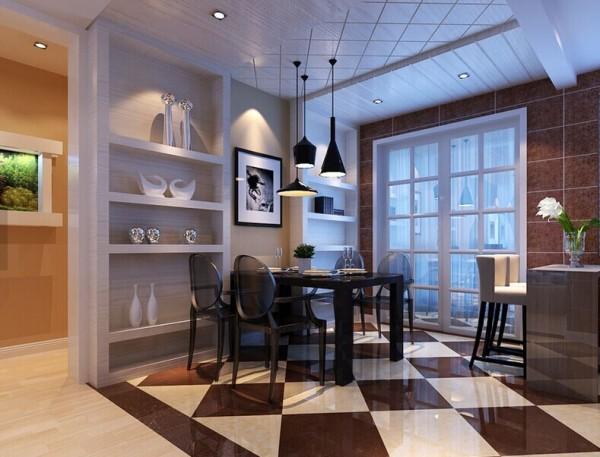 重点装饰墙面用马赛克和深灰色的上墙地板相互搭配,来形成视觉对比