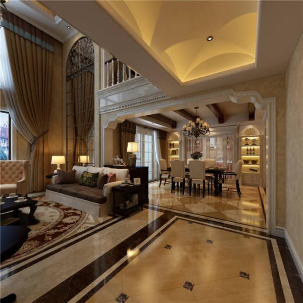 普罗旺世罗曼维森别墅美式风格-客厅效果图