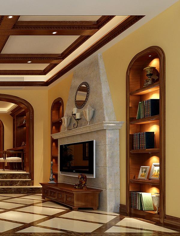 金荣盛景濠庭美式风格复式别墅装修设计-电视背景墙及壁橱效果图