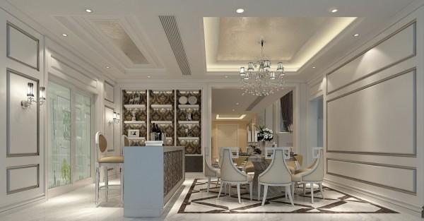 迎宾路3号别墅新古典风格装修设计效果图-餐厅效果图