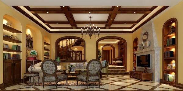 金荣盛景濠庭美式风格复式别墅装修设计-客厅效果图