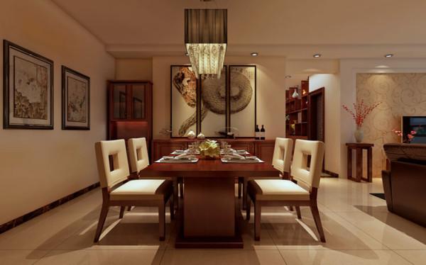 设计理念:选择中式的餐桌,使它在这个空间里是那么的自然,中式的餐厅灯优雅的下掉下来,仿佛在和业主对话。 亮点:餐厅的壁画选择也很重要,尺寸、比例直接影响我们的视觉感官。