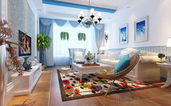 设计理念:希腊白与蓝天大海的搭配,营造一种自由休闲的生活方式。亮点:深色的地面给人庄重的感觉,搭配浅色沙发,让人眼前一亮,蓝色纱帘加上纯白墙面还有条纹沙发与靠垫,纯净自由的主题演绎的淋漓尽致。