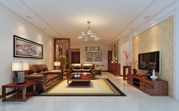 设计理念:客厅的电视墙上采用壁纸和简单的石膏板造型勾勒出整个空间更突出简约的中式风格。 亮点:墙面选择整体的白色乳胶漆。使整个空间充满明亮的气息;地面浅色大地砖铺贴,让整个空间更温馨。