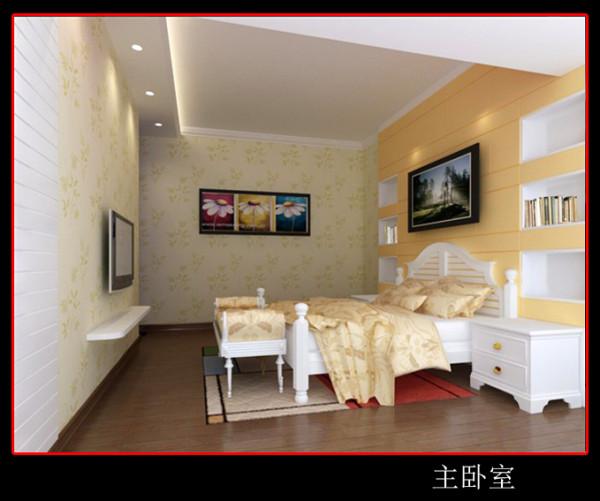 他们的房间以男主人幸运色杏色系为基调大面积用绿色环保的壁纸,床头做皮革软包的背景,两面造型中又有空间展示一些他们的珍爱收藏!靠窗户旁边放置一贵妃椅,无形体现了女主人的高贵与优雅!