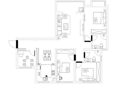 超凡装饰装修设计-升龙玺园138平现代简约风格装修设计效果图-户型图