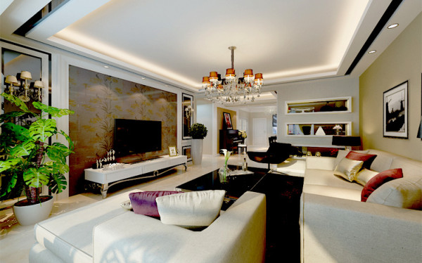 客厅是最令全家人感到惬意的地方,也是家中功能最多的一个地方,朋友聚会,休闲小憩,观赏电视等,都在这里进行。客厅是家的灵魂,这里联系着一家人的情感,又具有对外沟通的功能,成为一个家庭的核心地带。