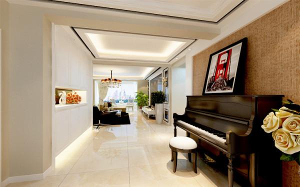 本案中一进门首先映入眼帘的是一组白色的展示柜,给人清爽淡雅的感觉,又为空间增添了几分神秘感,使人更想去深入的探究。墙面一架钢琴为空间增添了几分文艺范,体现出主人的爱好和特长。