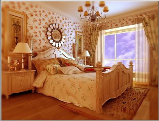 主卧室选用了碎花壁纸,阳光中的休闲韵味温馨感觉立刻体现出来