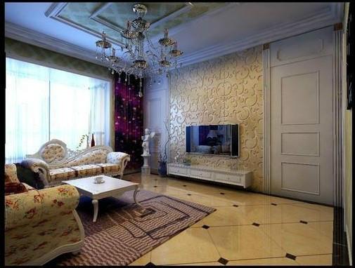 超凡装修设计-黄金海岸欧式风格装修设计-客厅电视背景墙效果图