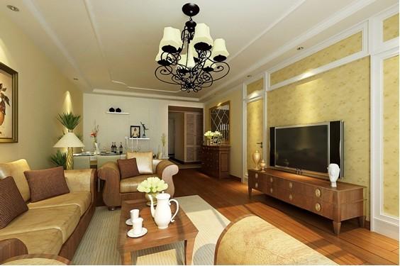 客厅顶面做了简约欧式的处理,用欧式顶角线和欧式顶线,电视背景墙选用了壁纸处理方法,既温馨有不失档次