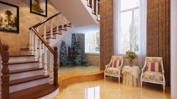 但是平和并没有磨灭它优雅的古典韵味,花朵图案的地毯、突出的壁炉、舒适的沙发 、简化的水晶灯,这一切给空间带来了雍容、高雅,充分体现了设计师对尺寸与空间关系的精确把握,客厅 的摆设没有太多的花哨。