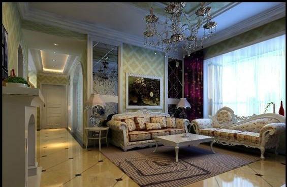 超凡装修设计-黄金海岸欧式风格装修设计-沙发背景墙效果图