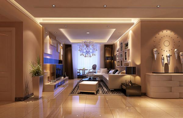 超凡装饰装修设计-升龙玺园138平现代简约风格装修设计效果图-客厅效果图